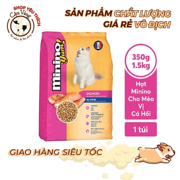 Thức ăn cho mèo Minino Yum Salmon Vị Cá Hồi 350gr & 1kg5  /gói | Hạt Cho Mèo Minino