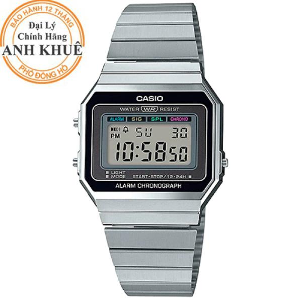 Đồng hồ unisex dây kim loại Casio Anh Khuê A700W-1ADF