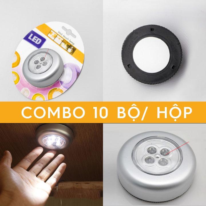 Đèn led tròn gắn tủ 4 led Tủ bếp, tủ sách, tủ quần áo Combo 10 bộ