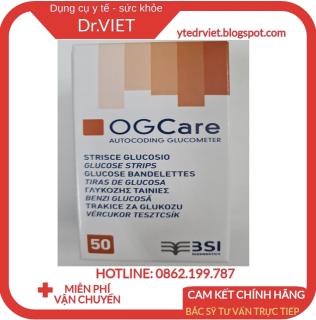 Que Thử đường huyết OG CARE (Hộp 50 que) chính hãng xuất sứ Italy-Dùng cho các dòng máy đo đường huyết Ogcare thumbnail