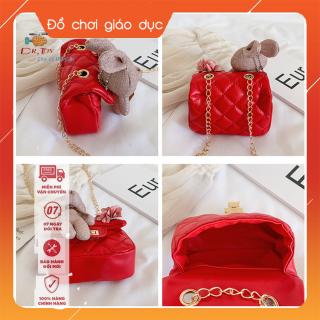 Túi đeo chéo gắn thỏ bông và nơ hồng mẫu mới, thời trang cho bé gái từ 4 tới 10 tuổi DrTOY 1