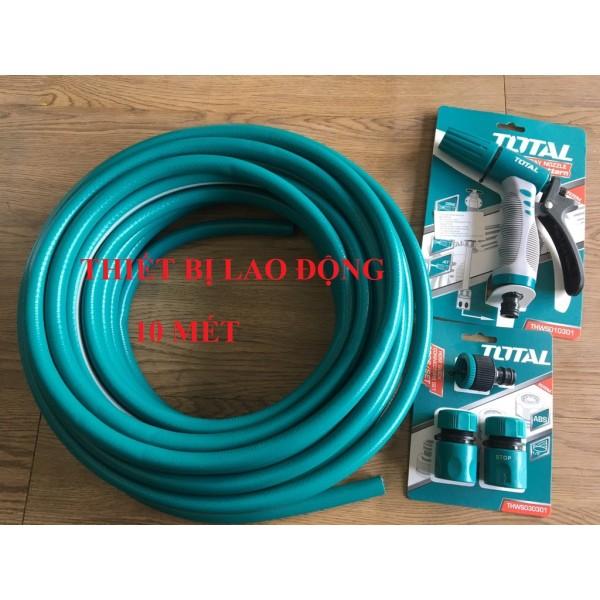 BỘ 10 MÉT ỐNG DÂY PVC TOTAL KHỚP NỐI ỐNG VÀ VÒI XỊT TƯỚI CÂY THPH2001 THWS030301 THWS010301