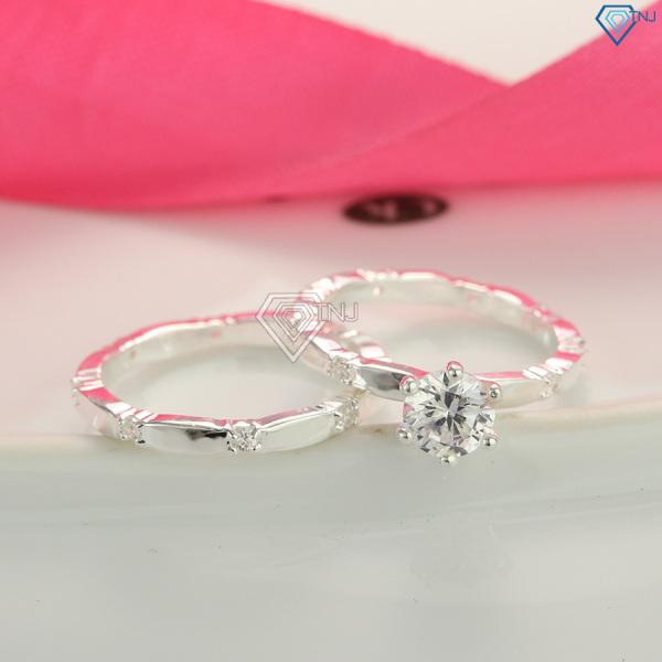 Nhẫn đôi bạc giá 300K, nhẫn cặp bạc tình nhân đính đá khắc tên ND0229 - Nhẫn đôi bạc TNJ