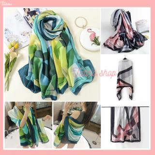 Khăn Choàng Quàng Cổ Lụa Cao Cấp Ô Vuông Màu Đi Biển - Chất Liệu Silk - Size 90x190cm - Mã KS001 thumbnail