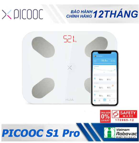 Cân sức khỏe thông minh PICOOC S1 Pro - Hàng chính hãng - Bảo hành 12 tháng - Kết nối Bluetooth với SmartPhone nhập khẩu