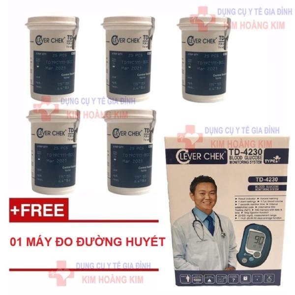 Nơi bán Combo 05 lọ que thử đường huyết Clever Chek TD-4230 (tặng 1 máy đo tiểu đường)