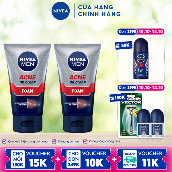 Combo 2 Sữa Rửa Mặt NIVEA MEN Giảm Nhờn Mụn (100G) - 82378