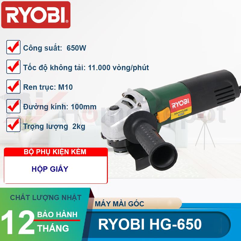 Máy Mài Góc Ryobi HG-650 - Công Suất 650W - Đường Kính Đá Mài 100mm - Ren Trục M10 - Hàng Chính Hãng