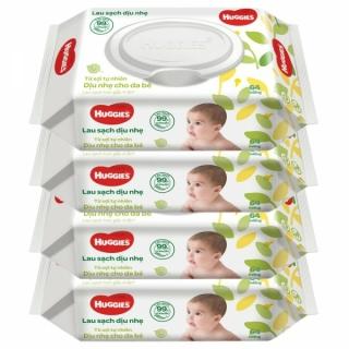 Combo 5 Gói Khăn giấy ướt cho trẻ sơ sinh HUGGIES không mùi, gói 64 tờ thumbnail