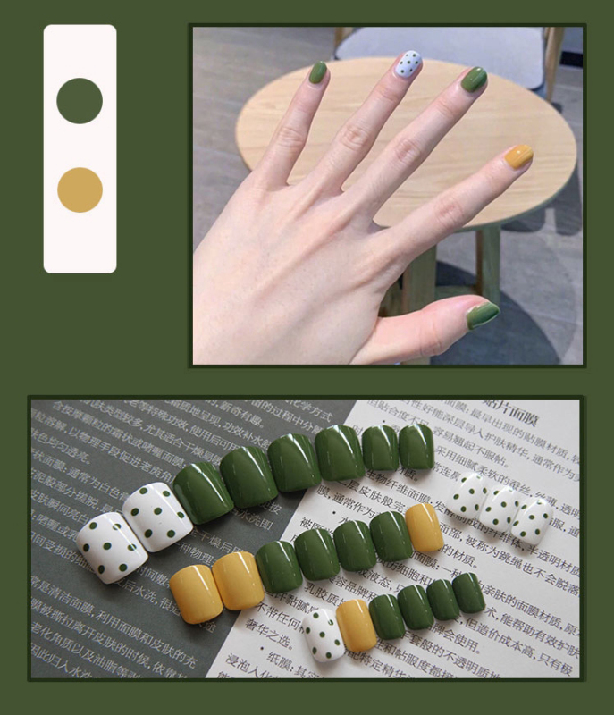 Bộ 24 móng tay giả xanh vàng (Kèm keo dán) giá rẻ