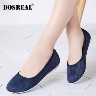 DOSREAL Giày Đế Bằng Cho Nữ Giày Thường Ngày Hàn Quốc Cỡ Lớn 35-43 Giày Lười Giày Đi Bộ Giày Đế Bằng Giày Nữ Màu Đen