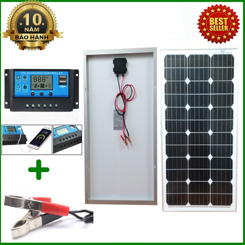 Tấm Pin năng lượng mặt trời đơn tinh thể Mono 60W tặng điều khiển sạc 30A 12V/24V LCD (công suất 360w) + Kẹp bình acquy
