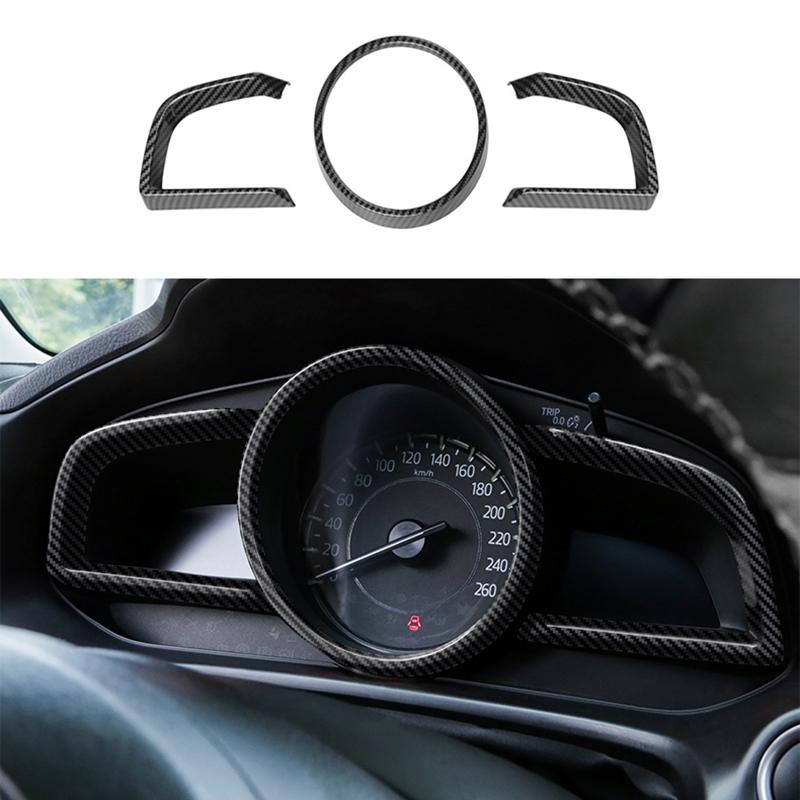 for Mazda 3 Axela 2014-2018 Carbon Fiber Dashboard Interior Instrument Frame Cover Trim