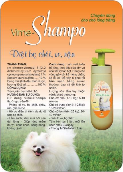 Sữa tắm trị ve cho chó lông trắng Vime Shampo