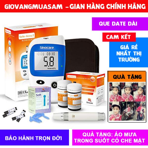 Máy đo đường huyết kỹ thuật số cao cấp Sinocare safe-accu2 + 50 QUE THỬ + 50 KIM CHÍCH + TẶNG THÊM ÁO MƯA TRONG SUỐT THỜI TRANG bán chạy