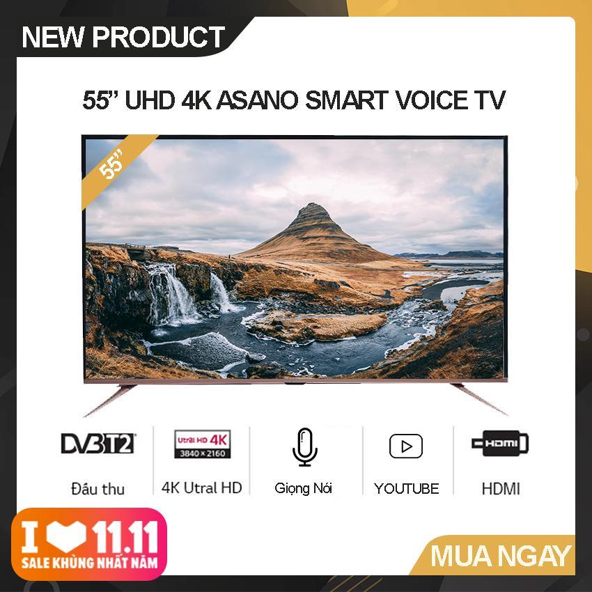 Bảng giá Smart Voice Tivi Asano 55 inch Ultra HD 4K - Model 55EK7 (Đen) Hệ điều hành Android 7.1, Kết nối Bluetooth, Điều khiển giọng nói, Tích hợp DVB-T2 - Bảo Hành 2 Năm