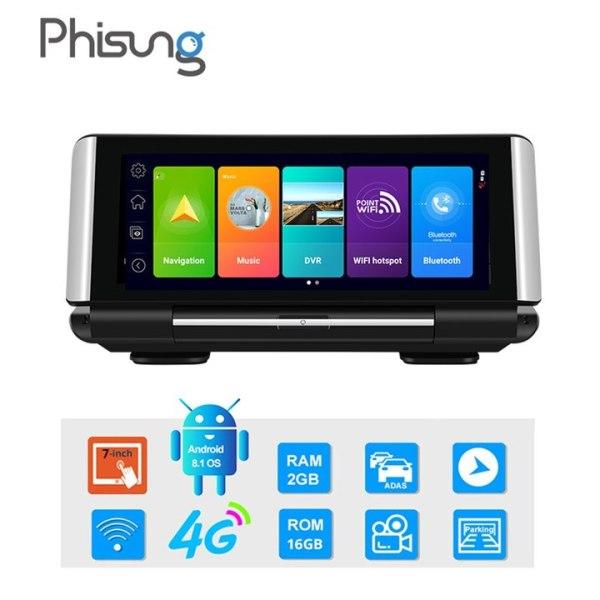 Camera hành trình đặt taplo ô tô, xe hơi trang bị 4G, wifi, màn hình 7 inch tích hợp cam lùi K7