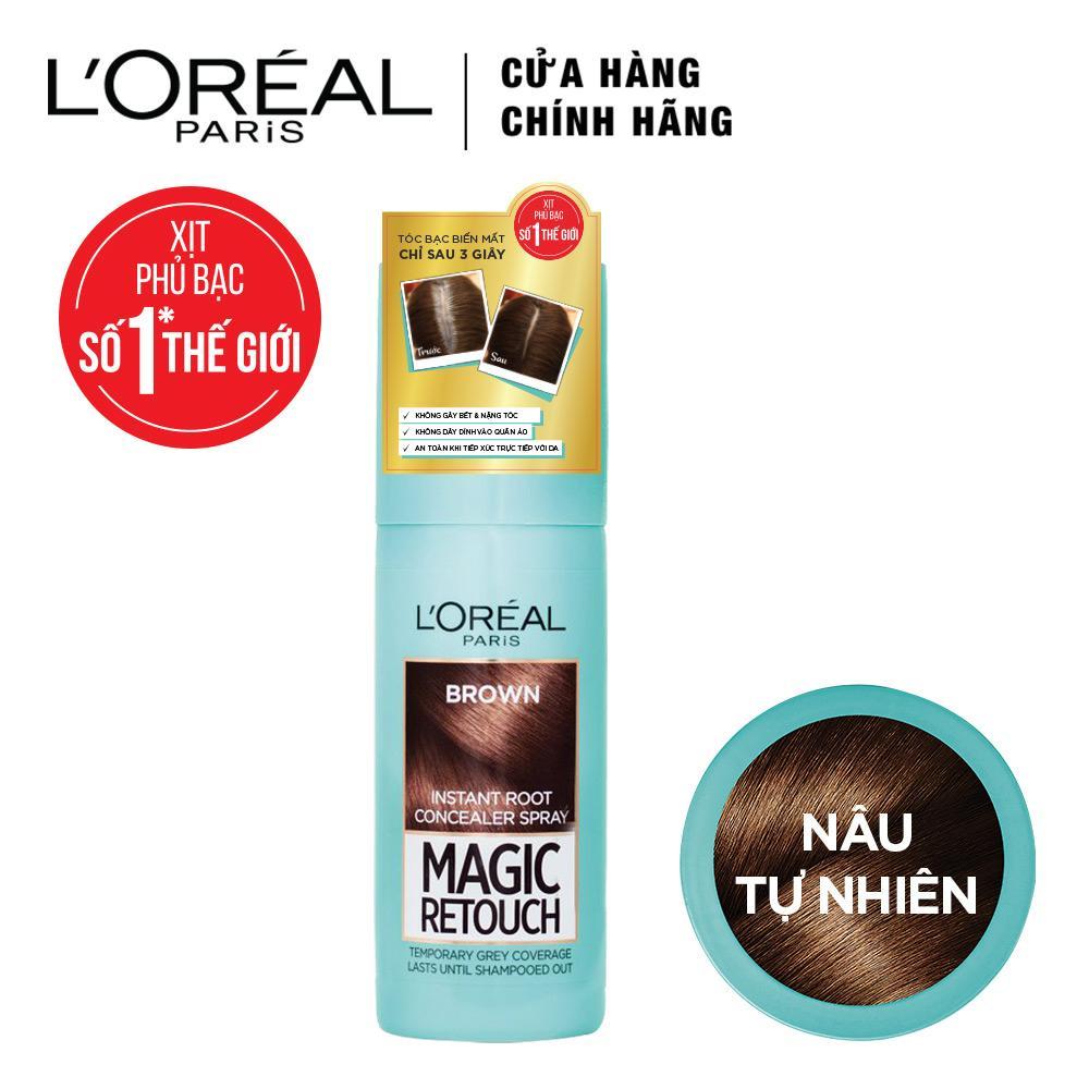 [QUÀ TẶNG KHÔNG BÁN] Xịt phủ bạc chân tóc tạm thời LOreal Paris Magic Retouch 75ml - Nâu Tự Nhiên chính hãng