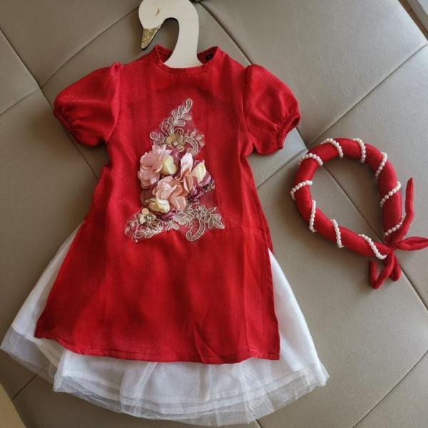 Áo dài cách tân cho bé gái (kèm mấn) chất liệu lụa cao cấp mềm mịn, họa tiết đính tay tỉ mỉ chắc chắn - áo dài cho bé gái - áo dài trẻ em- áo dài cách tân bé gái