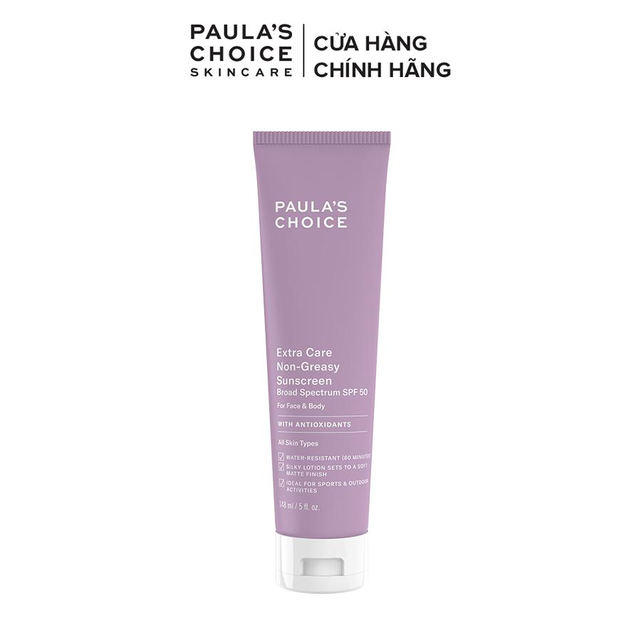 Kem chống nắng cơ thể chống thấm nước đến 8h Paula's Choice Extra Care Non Greasy Sunscreen SPF 50 148ml