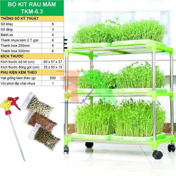 Bộ kit Khay trồng rau mầm thủy canh chuyên dụng TKM-6.3, Khay, Giá đỡ, Vòi xịt, Hạt giống