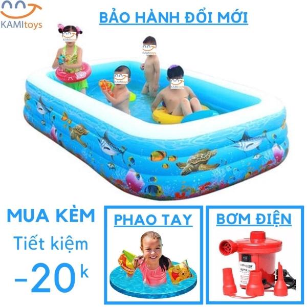 Bể bơi cho bé tại nhà, Bể bơi phao 3 tầng cho bé 3 loại kích thước tùy chọn mua kèm bơm điện tùy chọn