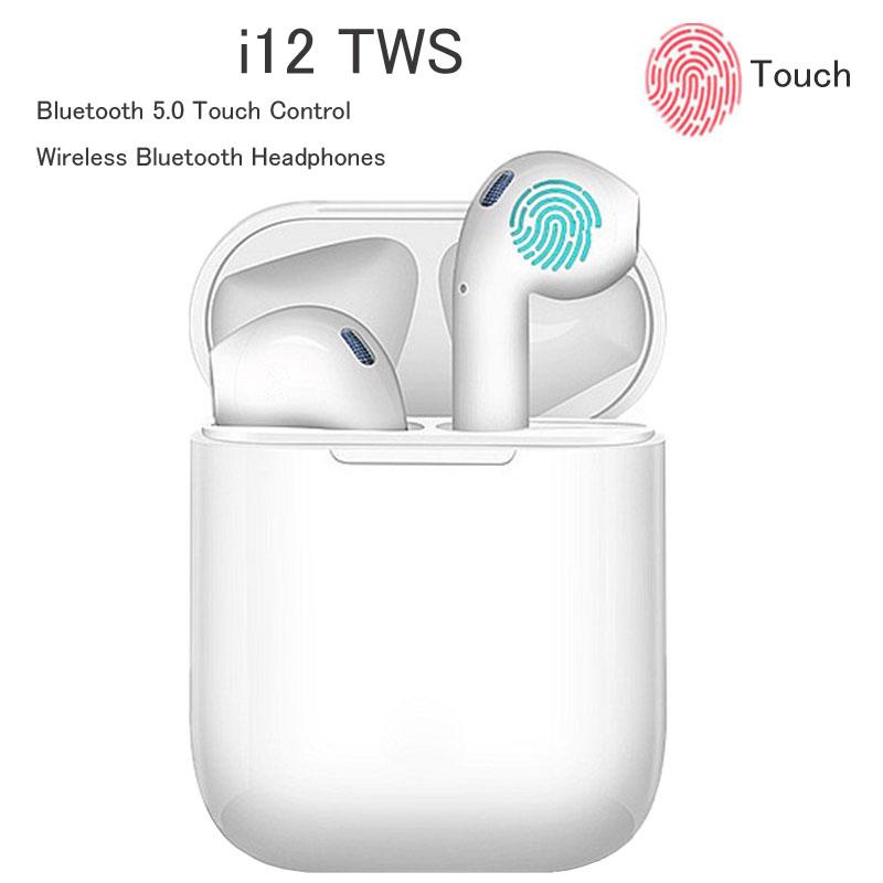 Tai nghe bluetooth, tai nghe bluetooth không dây i12 Inpods 12, Cảm ứng vân tay 5.0, âm thanh cực chuẩn, màu sắc tươi trẻ, mẫu mới 2020 hay hơn  i7s i12
