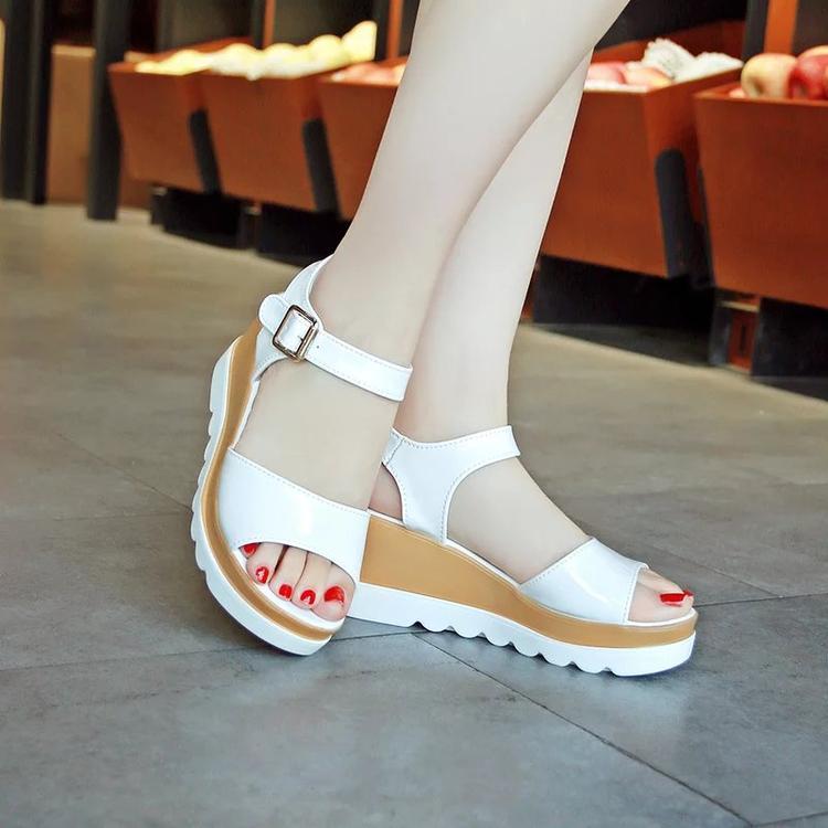 6d471290b7ae1 Womens Korean-style Cute Platform Middle Heel Sandal (White) Women Shoes  Sandals Flat