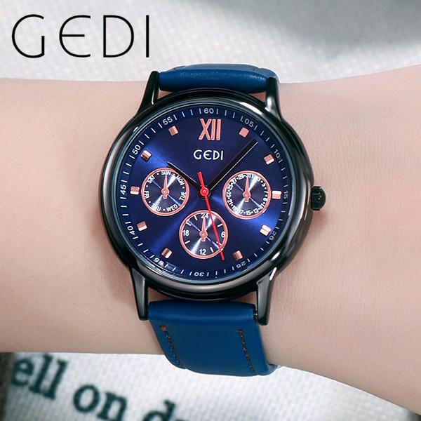 Nơi bán GEDI 5155 Xu hướng sáng tạo dây đeo bằng da Đồng hồ đeo tay cá tính Quartz Đồng hồ thời trang Cô gái thời trang Đồng hồ đeo tay bảo hành chống nước