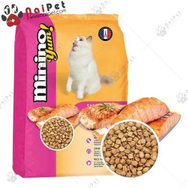 Thức Ăn Hạt Cho Mèo Mọi Lứa Tuổi Vị Cá Hồi Minino Yum Salmon