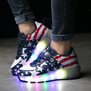 Giày bánh xe - Bánh gót - trượt Patin có đèn Led cho bé trai 3-15 tuổi LEDXANH001 thumbnail