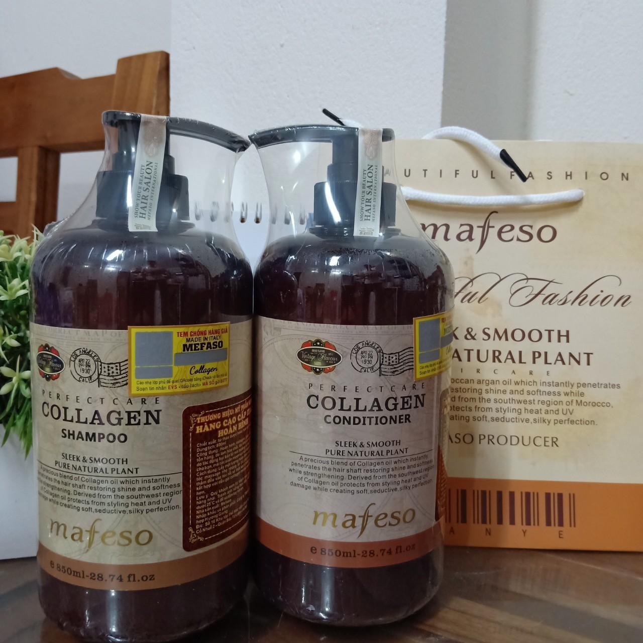 Bộ dầu gội, xả Collagen Mefaso phục hồi tóc hư tổn nhập khẩu