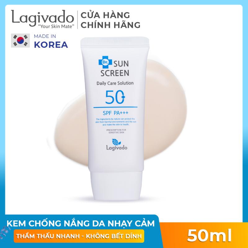 Kem Chống Nắng không gây nhờn rít dành cho da mụn, da nhạy cảm Hàn Quốc Dr. Lagivado giúp ngăn sạm da, giảm thâm nám với SPF 50 +/ PA+++  50 gram giá rẻ