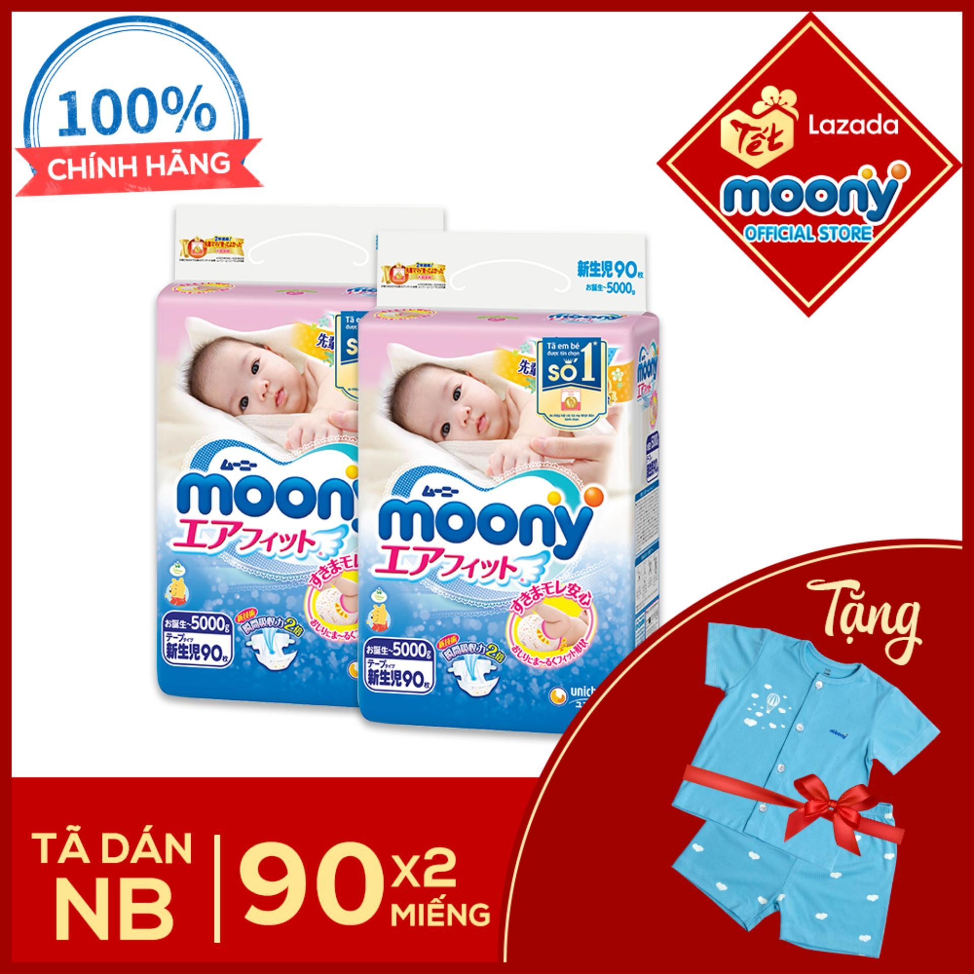 Bộ 2 tã dán cao cấp Moony Newborn 90 miếng...