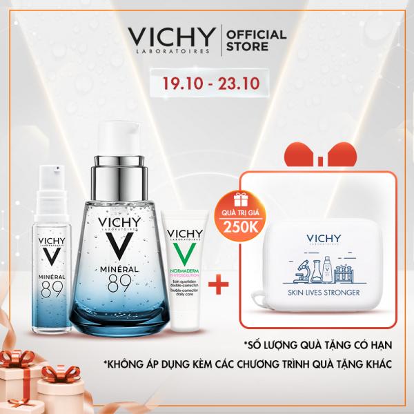 Bộ Dưỡng chất (Serum) khoáng phục hồi chuyên sâu Vichy Mineral 89 Tặng Kem dưỡng tác động kép cho da mụn Normaderm 3ml và Serum Mineral 89 10ml