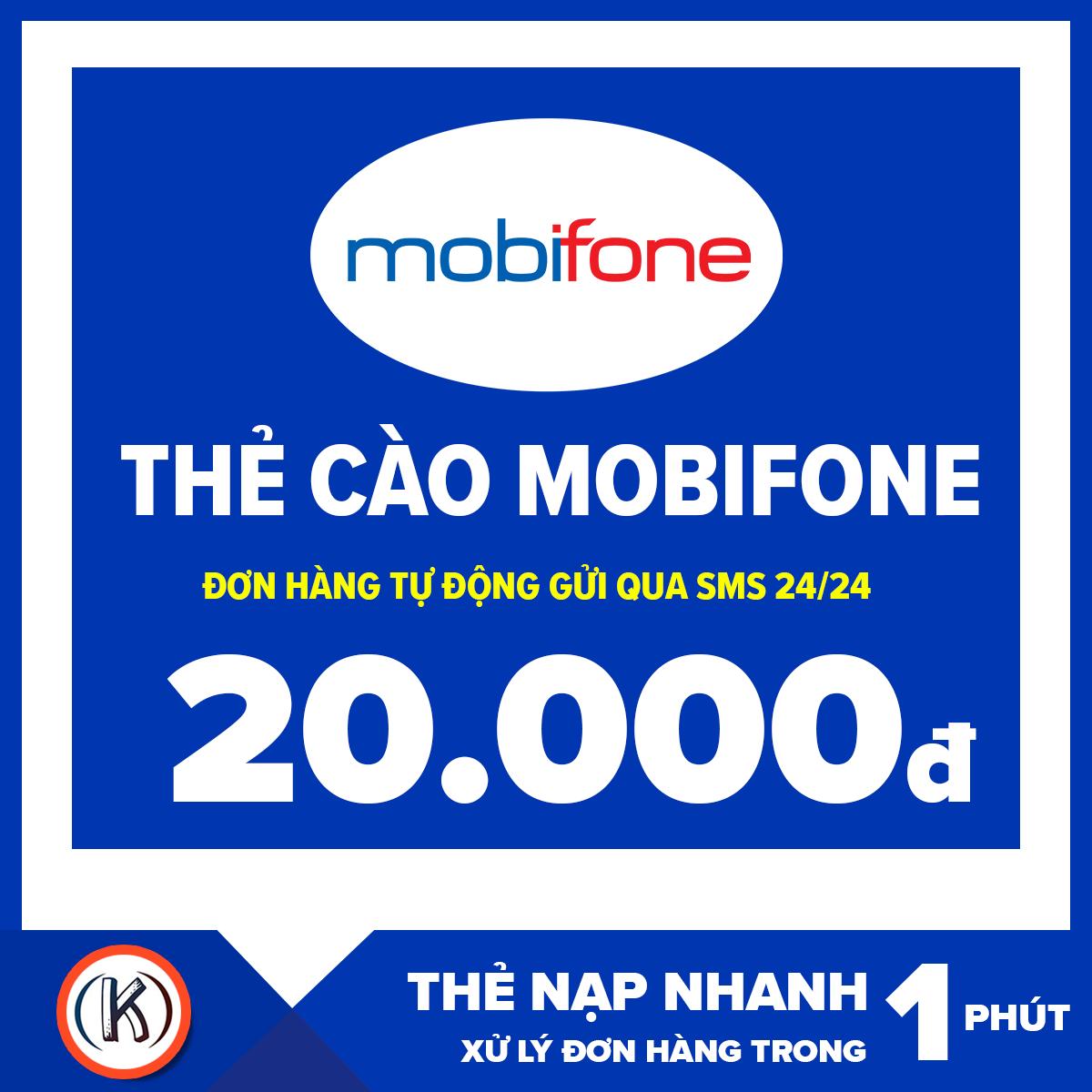 [HCM]Thẻ cào mobifone 20.000đ (Đơn hàng tự động gửi qua Email 24/24)