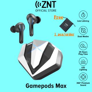 [MỚI] Tai nghe Bluetooth chơi game ZNT GamePods Max Silver, Không có độ trễ 0,065 giây, Chipset PixArt có độ trễ thấp ULTRA, Độ trung thực cao của âm trầm tuyệt vời, Chế độ trò chơi âm nhạc, Đèn lấp lánh Tai nghe không dây cho PUBG, ESPORTS, Game thủ thumbnail