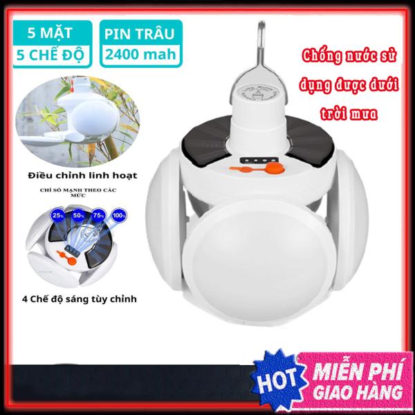 [FREESHIP] Bóng đèn led tích điện, năng lượng mặt trời hình 4 cánh 5 bóng đèn có thể đóng mở (40W) -genkstore