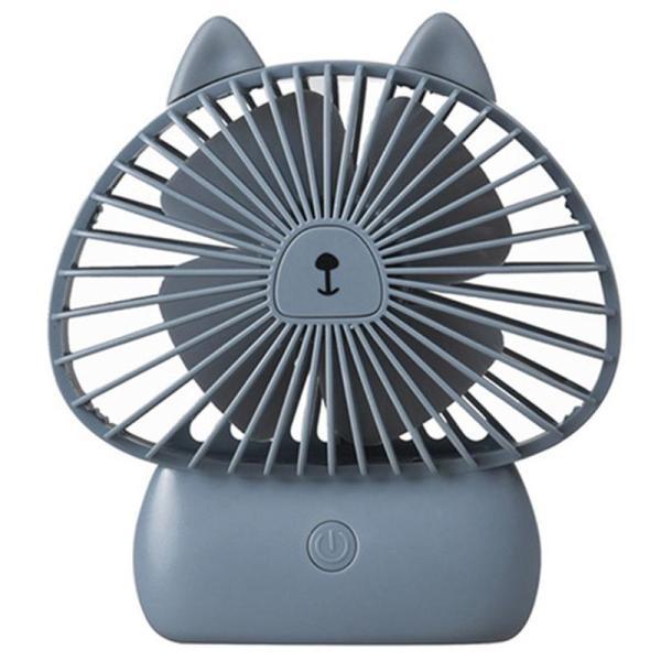 Portable Rechargeable Mini Usb Fan Led Fan Small Desks Household Fans Handy Small Desktop Usb Cooling Fan Cooler Gray
