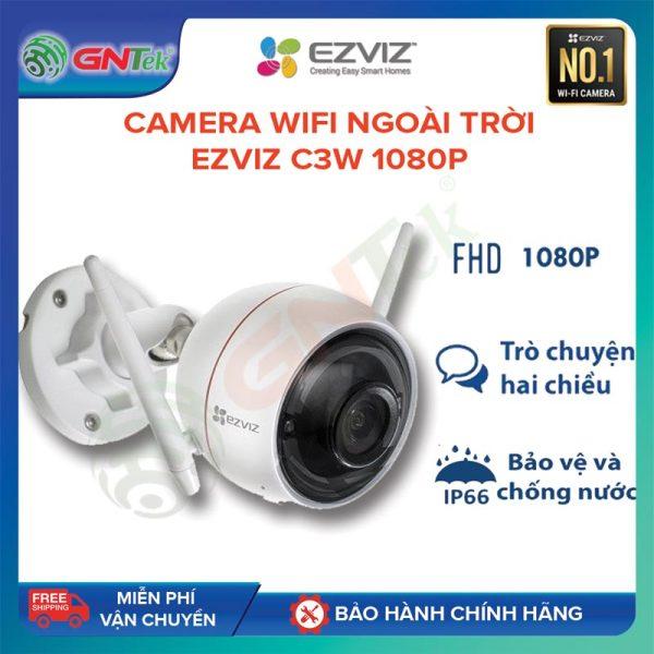 Camera IP wifi Ngoài trời chống nước IPX6 Ezviz C3W 1080p 2MPX còi đèn báo động, đàm thoại 2 chiều – Bảo hành chính hãng 24 tháng - Tặng 1 tuần dùng thử cloud