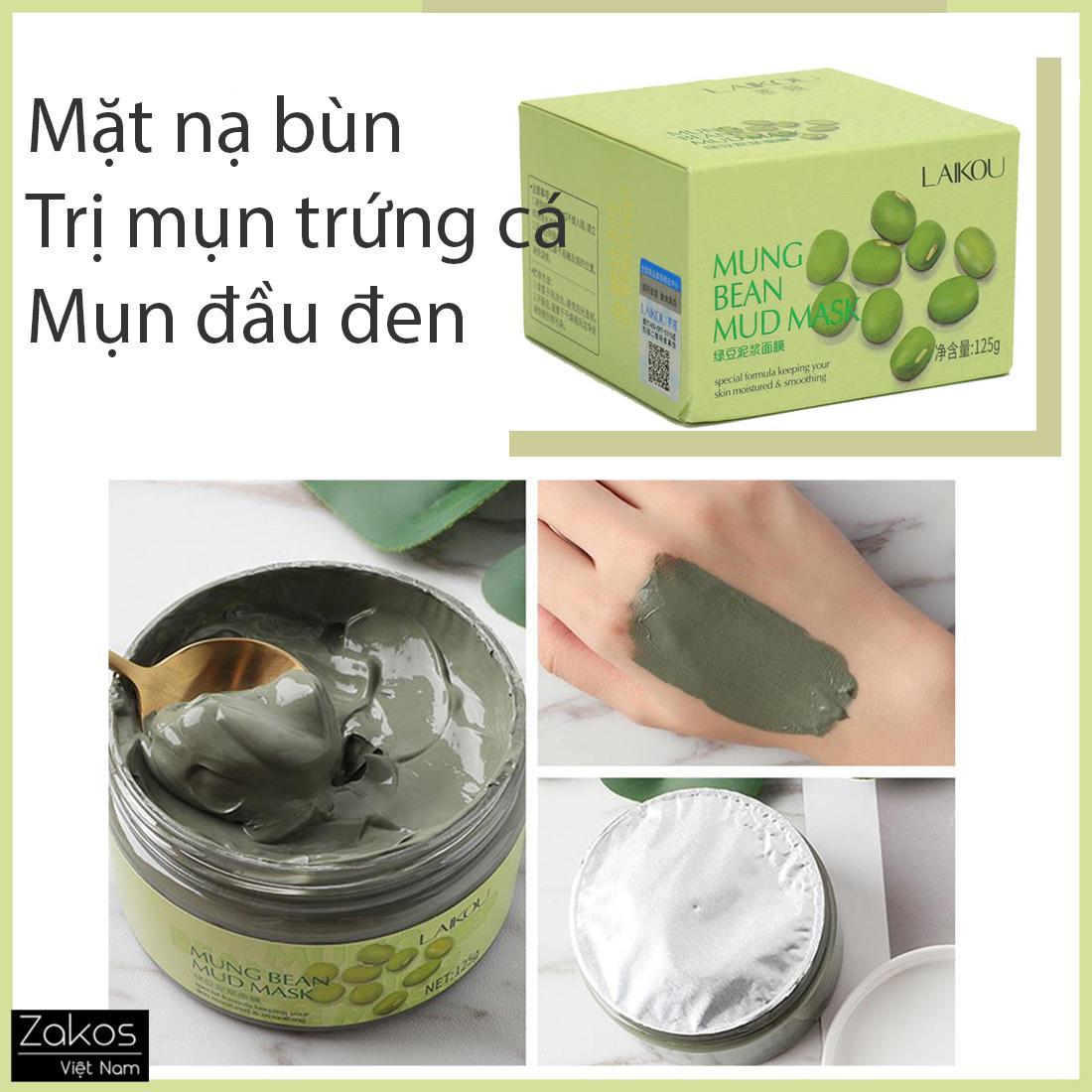 [Dành cho da mụn, da dầu] Mặt nạ bùn đậu xanh nguyên chất Laikou Mung Bean Mud Mask - Se lỗ chân lông, trị mụn trứng cá, mụn đầu đen, sạch sâu