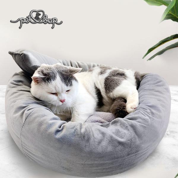 Đệm ấm cho chó mèo có thể tháo rời tặng kèm gối nằm. Ổ cho chó mèo - Nệm tròn cho thú cưng màu xám phù hợp với mọi thời tiết