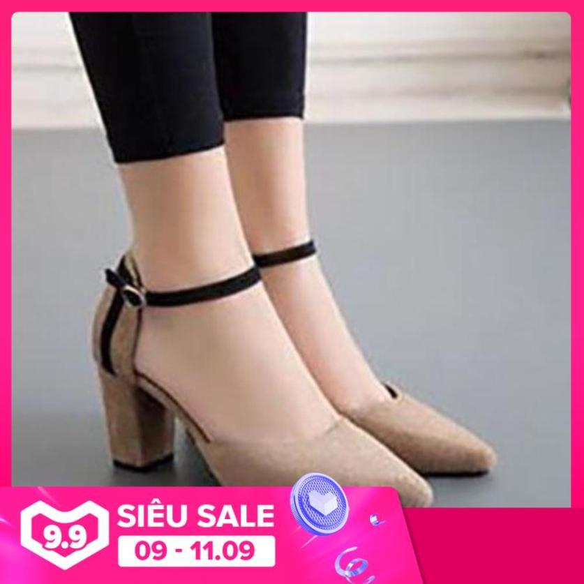 Giày cao gót vuông 7cm bít mũi gót gót sọc giá rẻ