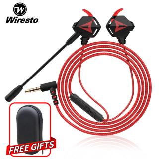 [ĐẲNG CẤP GAME PRO] Wiresto Tai nghe nhét tai Gaming có dây có mic G901 chơi pubg game mobile + tặng kèm cáp chuyển đổi để dùng cho máy tính laptop thumbnail