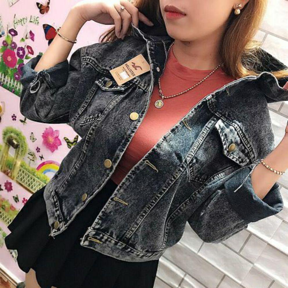 Áo khoác jean nữ có nón jean màu xám đen sang trọng form dưới 60kg