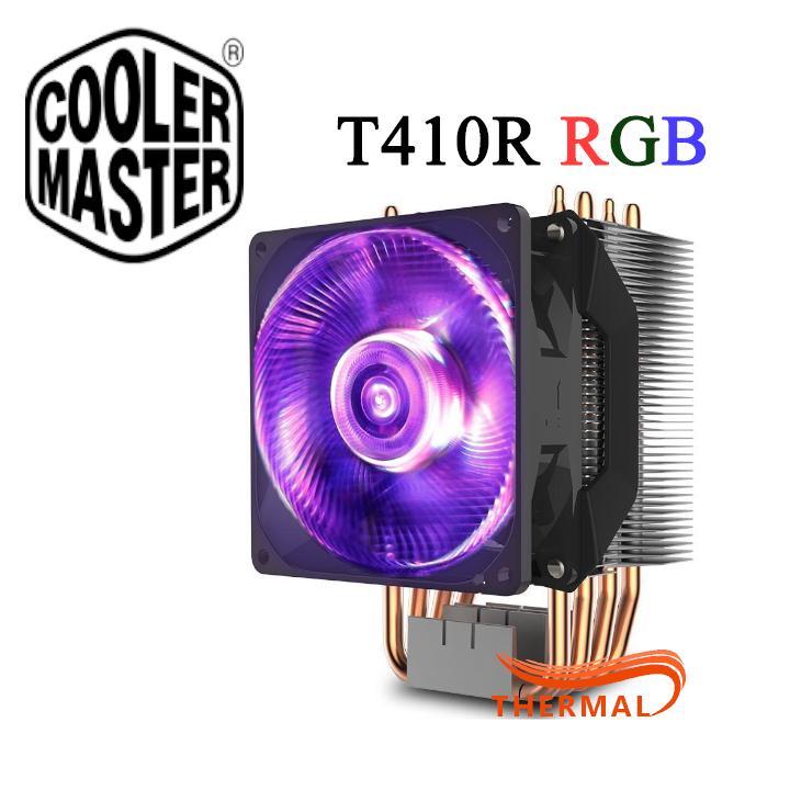 Quạt tản nhiệt cpu Cooler Master T410R RGB [ThermalVN] - Quạt quay êm 2000 vòng, 4 ống đồng, hiệu năng mạnh mẽ, đèn RGB ( Tặng kèm remote )