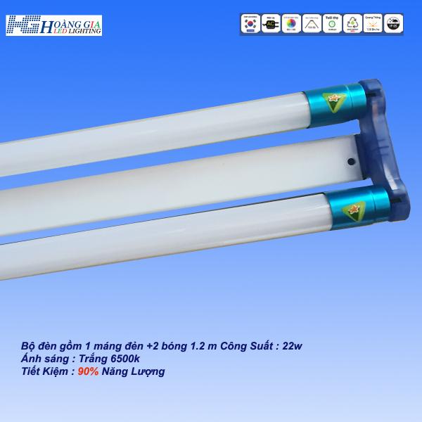 Bộ đèn Led tuýp đôi T8 gồm 2 bóng LED tube 1,2m x 22W