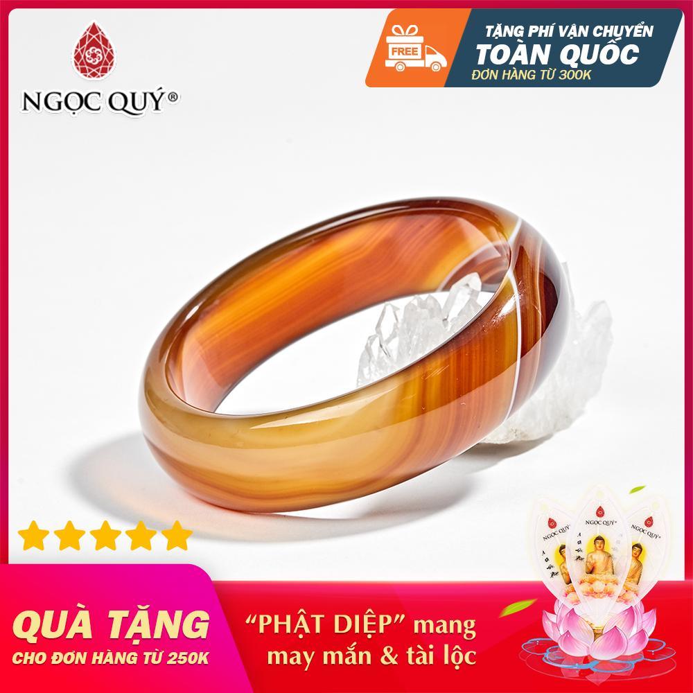 Vòng Tay Phong Thủy Nữ Mệnh Hỏa , Thổ Đá Mã Não Cam Over-Size Ni 58 - Ngọc Quý Gemstones