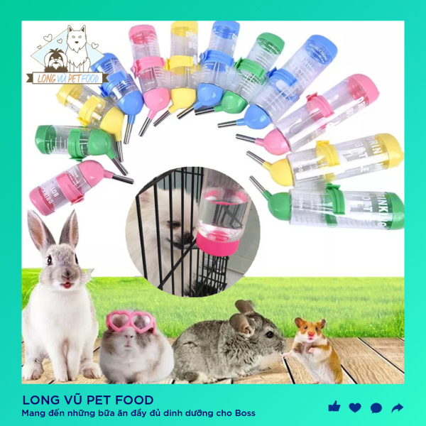 Bình nước uống gắn chuồng cho chó mèo, hamster, bình nước hamster - Long Vũ Pet Food