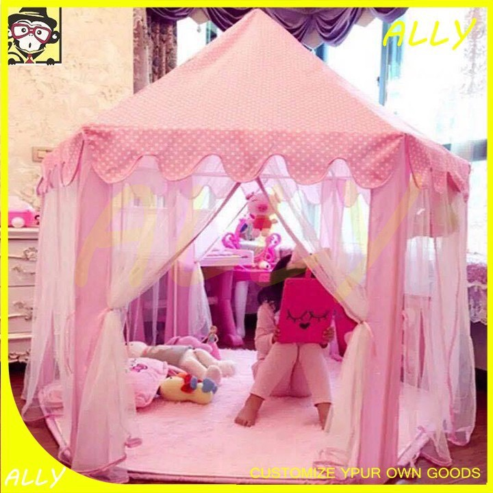 Lều công chúa hoàng tử cho bé trai bé gái lục giác 6 cửa có rèm chống muỗi kèm bóng đèn nháy loại to hồng xanh HB14 thumbnail
